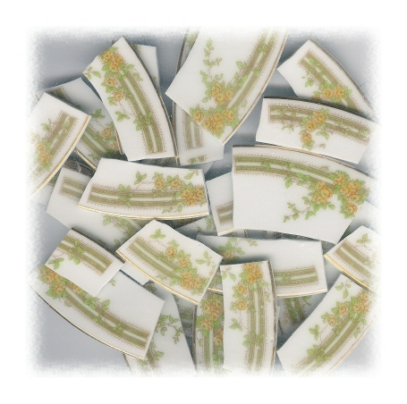 Yellow Rose Garlands Broken China Mosaic Banners