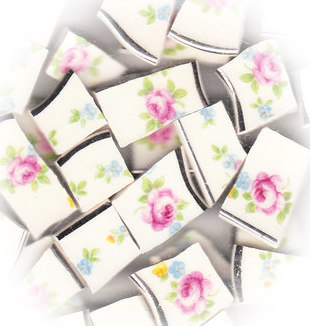 Pink Rose, Blue Flowers & Green Leaves Broken China Mosaic Tiles