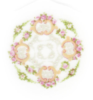 Pink Roses, Green Leaves & Gold Scrolls Broken China Mosaic Focal