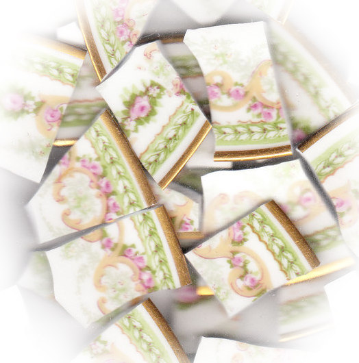Pink Roses, Green Leaves & Gold Scrolls Broken China Mosaic Tiles
