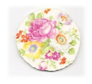 Pink Rose, White Flower, Yellow Flower & Green Leaves Broken China Mosaic Focal