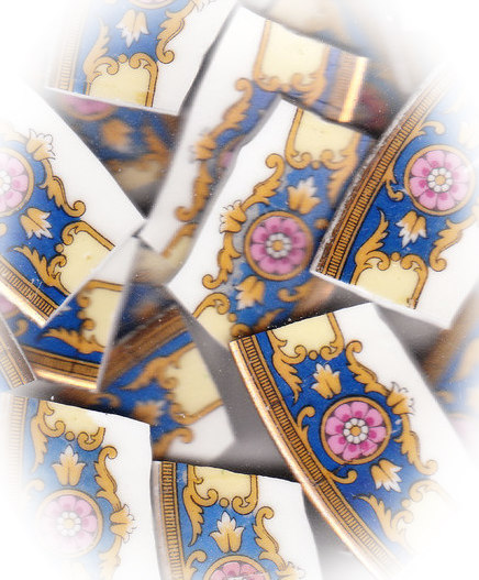 Pink Floral Medallion on Blue Background Broken China Mosaic Tiles