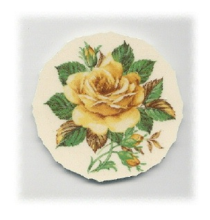 Yellow Rose, Yellow Rosebuds & Green Leaves Broken China Mosaic Focal