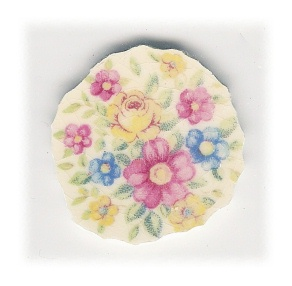Yellow Rose with Yellow & Blue & Pink Flowers Broken China Mosaic Focal