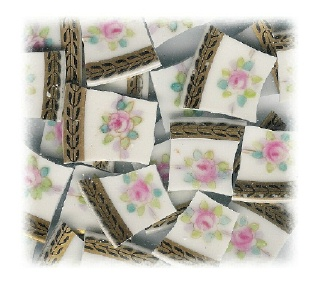 Pink Rose with Pale Green & Aqua Leaves Broken China Mosaic Tiles