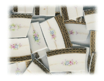 Pale Blue Flower, Pale Pink Flower with Pale Green & Lilac Leaves Broken China Mosaic Banners