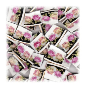 Pink Rose & Yellow Rose Broken China Mosaic Tiles