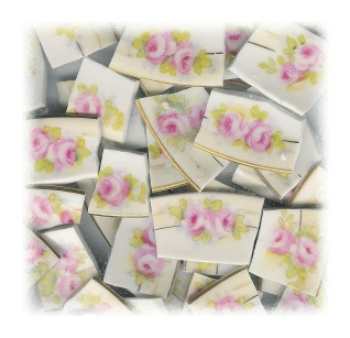 Pink Cabbage Roses with Green Leaves on Yellow Band Broken China Mosaic Tiles