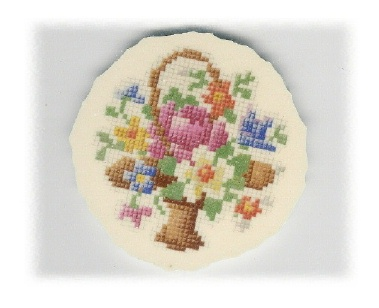 Basket of Flowers Needlepoint Broken China Mosaic Focal