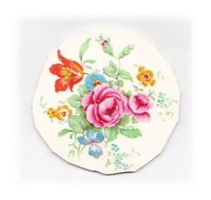 Pink Roses, Orange Tulip & Blue Flowers Broken China Mosaic Focal