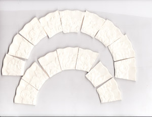 Embossed Off White Rims Broken China Mosaic Tile