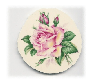 Pink Rose with Yellow Highlights Broken China Mosaic Focal - Large
