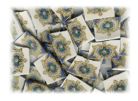 Pink Rose with Blue & Yellow Accents Broken China Mosaic Tile