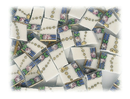 Pink Rose on Blue Band with Yellow Chain Broken China Mosaic Tile