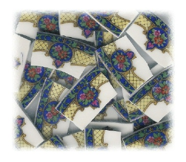 Red Flowers on Dark Blue Background Broken China Mosaic Tiles