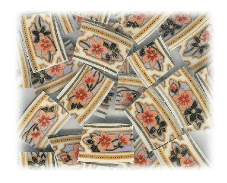 Peach & Black Floral Broken China Mosaic Tiles