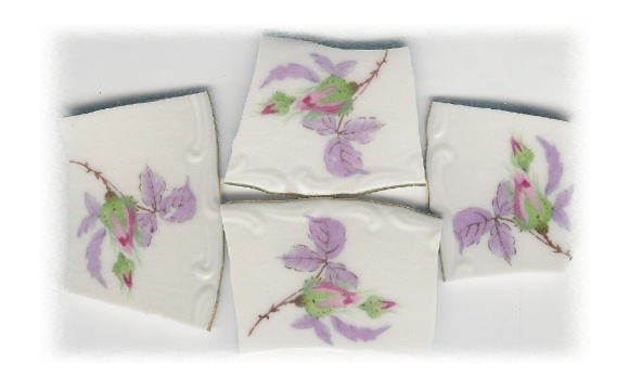 Pink Rosebud with Lilac Leaves Broken China Mosaic Banners