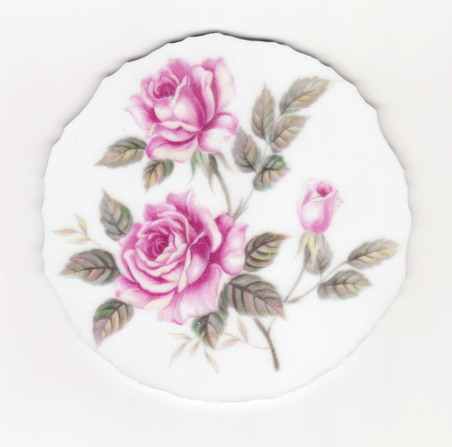 Pink Roses, Pink Rosebud & Green Leaves Broken China Mosaic Focal