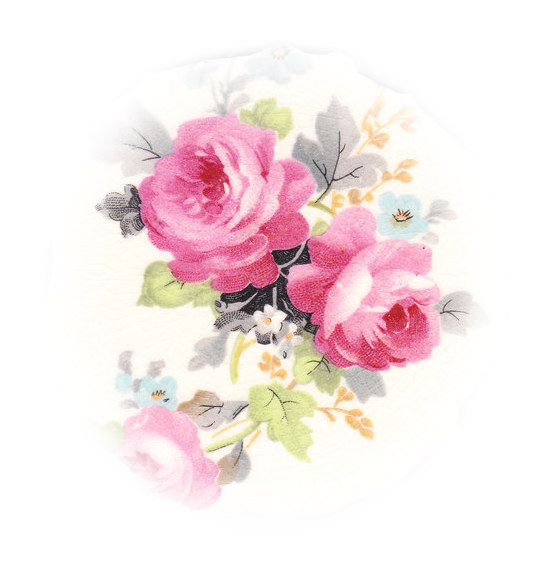 Pink Roses, Blue Flowers, White Flower, Green & Gray Leaves Broken China Mosaic Focal