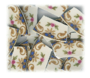 Single Pink Flower with Blue & Gold Accents Broken China Mosaic Banners