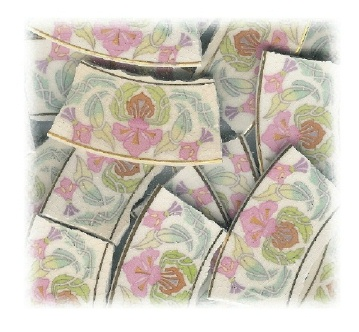 Lotus Flower Art Deco Broken China Mosaic Banners