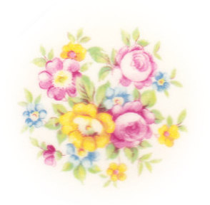 Pink Rose, Pink Flower, Blue Flower, Yellow Flower with Green Leaves Broken China Mosaic Focal