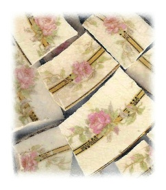 Pink Rose & Green Leaves on Gold Band Broken China Mosaic Banners & Tiles
