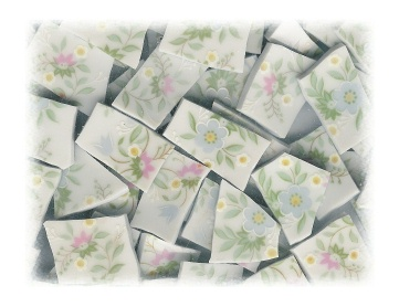 Pink & Blue & White Flowers Broken China Mosaic Tiles