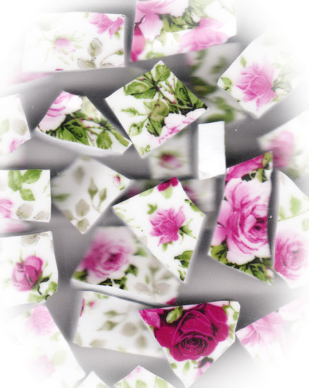 Rose Chintz Broken China Mosaic Tiles