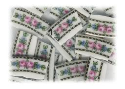 Pink Roses Swag Broken China Mosaic Tiles