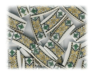 Green & Yellow Fleur De Lis Broken China Mosaic Tiles