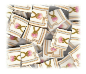 Stylized Pink Rosebuds & Green Leaves with Blue & Gold Accents Broken China Mosaic Tiles