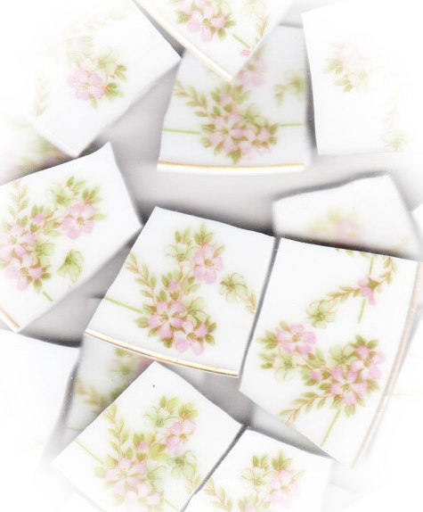 Pink Floral Swags Broken China Mosaic Tiles