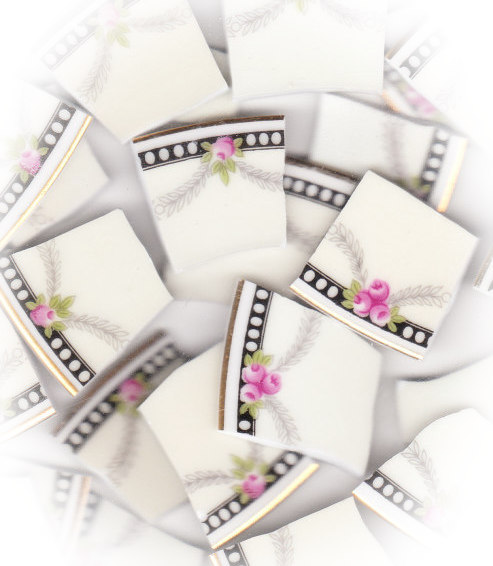 Pink Roses, Green Leaves, Gray Leaf Swags Broken China Mosaic Tiles