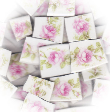 Pink Rose, Pink Rosebud & Green Leaves Broken China Mosaic Tiles