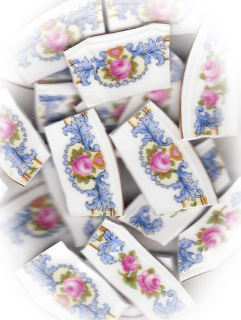 Pink Rose with Blue Dots & Blue Scrolls Broken China Mosaic Tiles