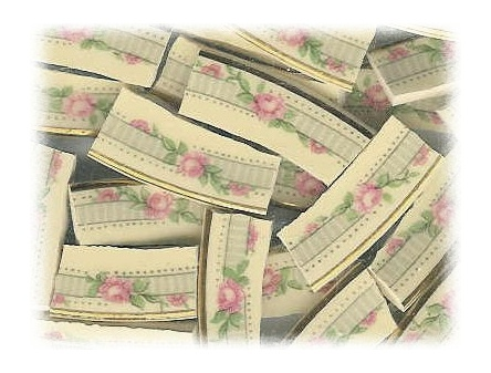 Pink Roses & Green Vines on Gray Striped Band Broken China Mosaic Tiles