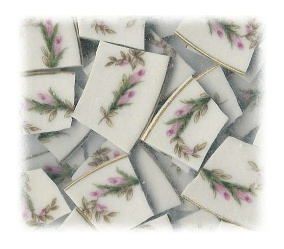 Pink Climbing Rosebuds Broken China Mosaic Tiles