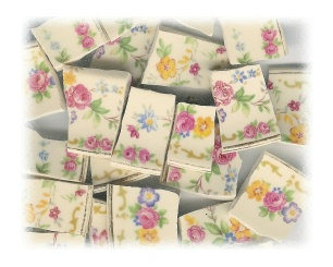 Pink Roses & Pink, Red, Blue & Yellow Flower Broken China Mosaic Tiles