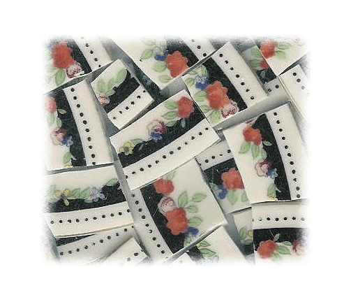 Orange Roses & Black Broken China Mosaic Tiles