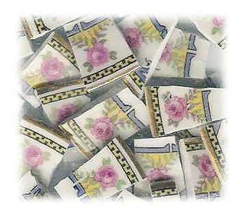 Pink Roses & Greek Key Border Broken China Mosaic Tiles