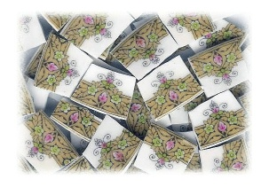 Pink, Green & Gold Medallions Broken China Mosaic Tiles