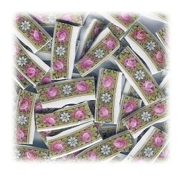 Pink Roses with White Daisy Broken China Mosaic Tiles
