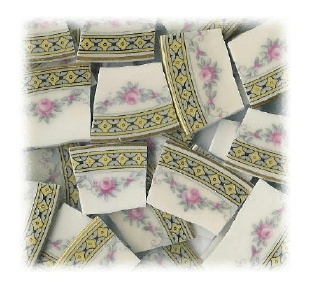 Pink Roses & Gray Leaves with Yellow Semi Circle Edges Broken China Mosaic Tiles