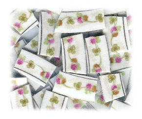 Pink & Green Clover Broken China Mosaic Tiles