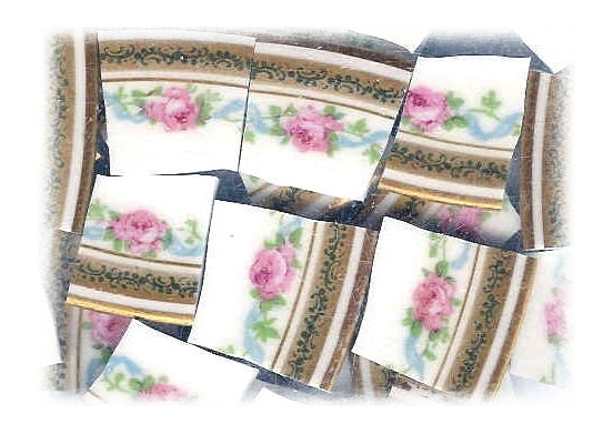 Pink Roses & Blue Ribbon Broken China Mosaic Tiles