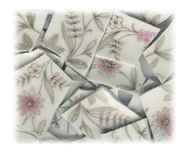 Pink Daisies, Pink Flowers & Gray Leaves Broken China Mosaic Tiles
