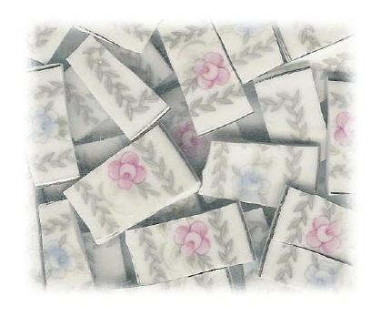 Pale Pink Rose & Blue Rose Broken China Mosaic Tiles