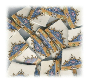 Pink Flower & Blue Medallion Broken China Mosaic Tiles