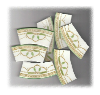Green & Gold Art Deco Swags Broken China Mosaic Banners